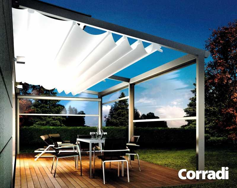 Pergolas toile r tractable stores malafosse besan on - Pergola alu toile retractable ...